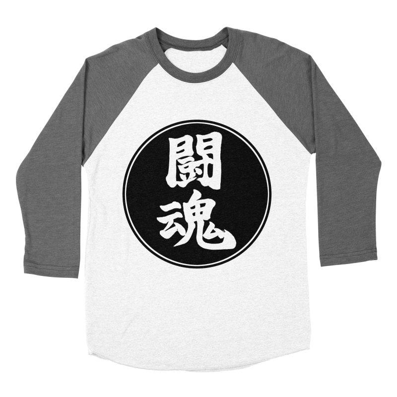Fighting Spirit (Toukon) Kanji Circle Pop Art Men's Baseball Triblend Longsleeve T-Shirt by KansaiChick Japanese Kanji Shop