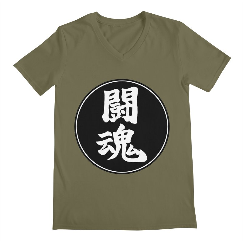 Fighting Spirit (Toukon) Kanji Circle Pop Art Men's Regular V-Neck by KansaiChick Japanese Kanji Shop