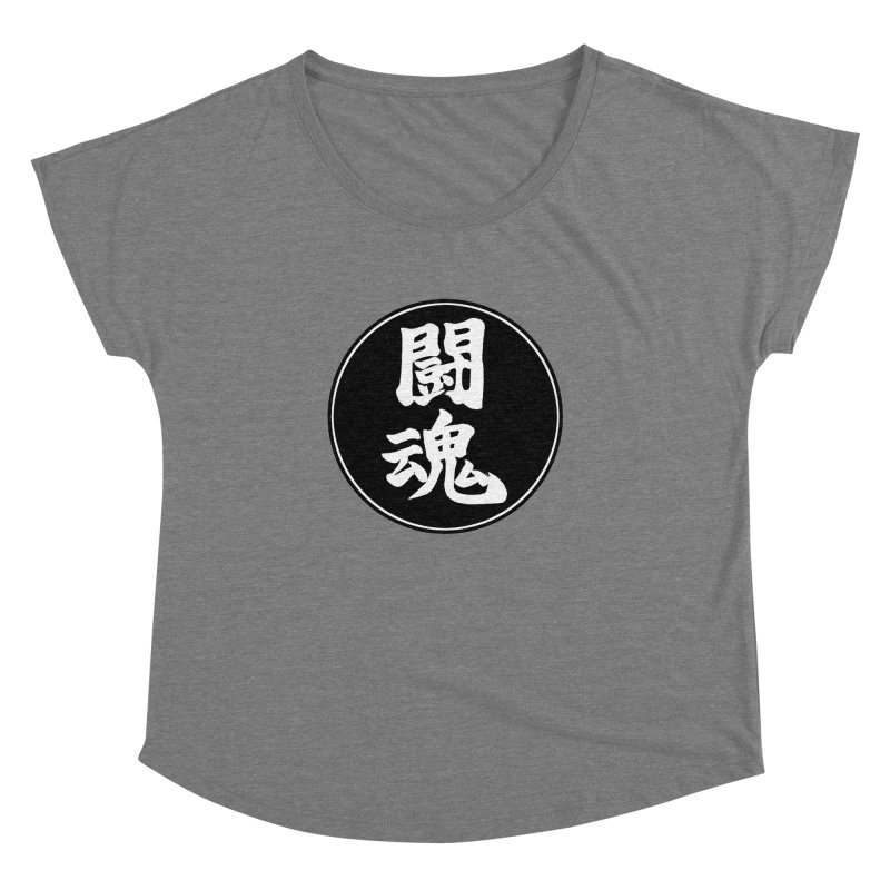Fighting Spirit (Toukon) Kanji Circle Pop Art Women's Dolman Scoop Neck by KansaiChick Japanese Kanji Shop