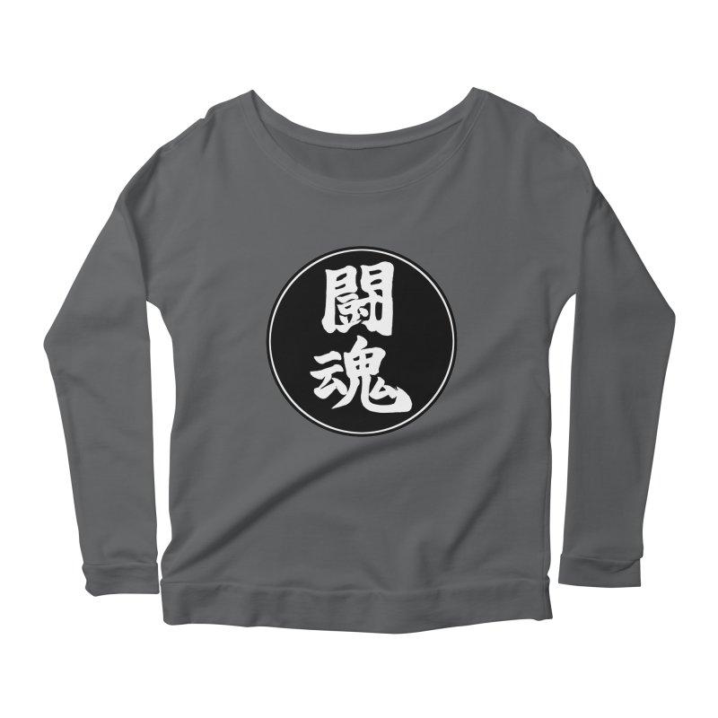 Fighting Spirit (Toukon) Kanji Circle Pop Art Women's Scoop Neck Longsleeve T-Shirt by KansaiChick Japanese Kanji Shop