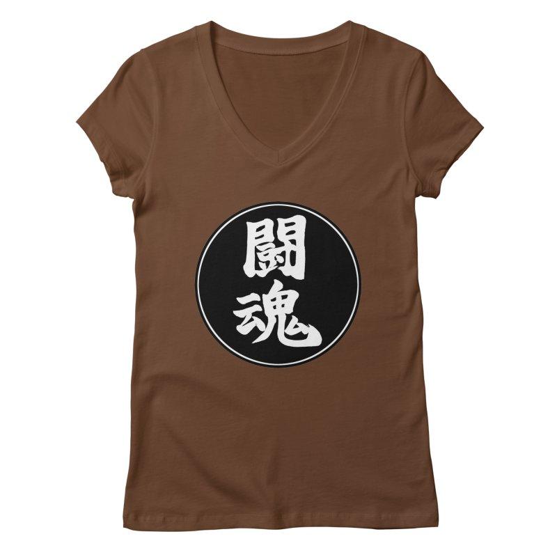 Fighting Spirit (Toukon) Kanji Circle Pop Art Women's Regular V-Neck by KansaiChick Japanese Kanji Shop