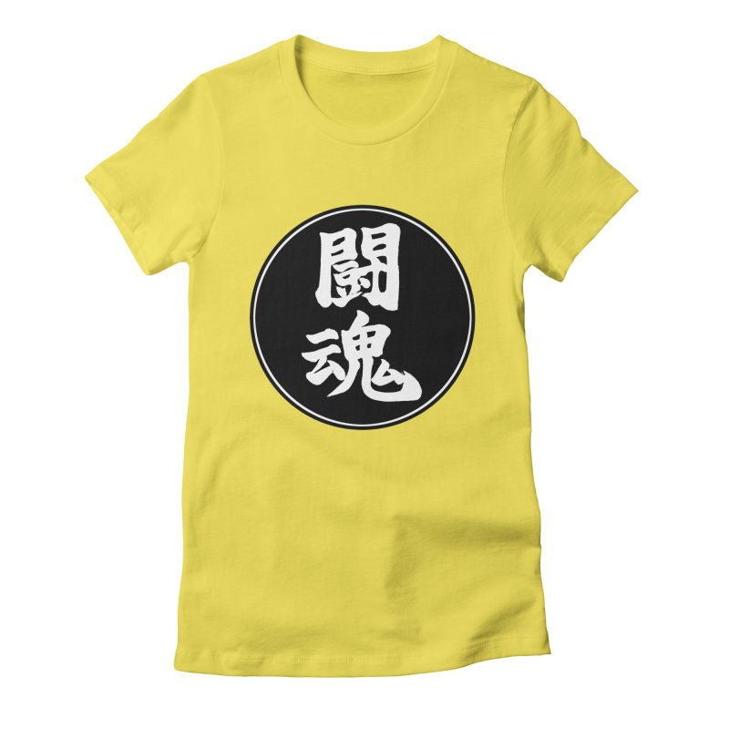 Fighting Spirit (Toukon) Kanji Circle Pop Art Women's Fitted T-Shirt by KansaiChick Japanese Kanji Shop