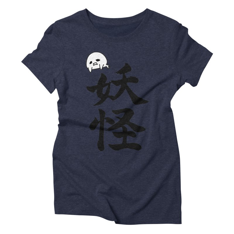 Yokai Kanji With A Ghostly Partner Women's Triblend T-Shirt by KansaiChick Japanese Kanji Shop