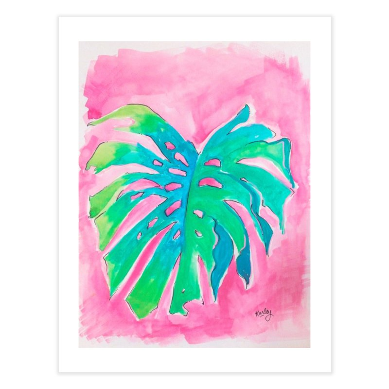 Monstera on Pink | Beach Art in Fine Art Print by Karley Kiker's Artist Shop