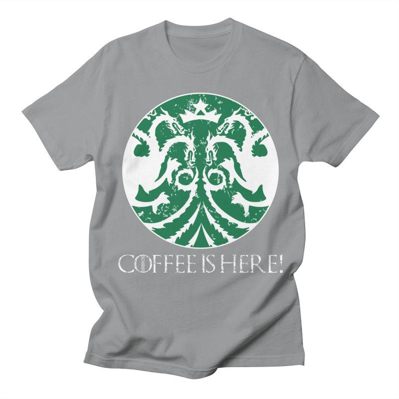 COFFEE IS HERE!!! Men's Regular T-Shirt by karmadesigner's Tee Shirt Shop