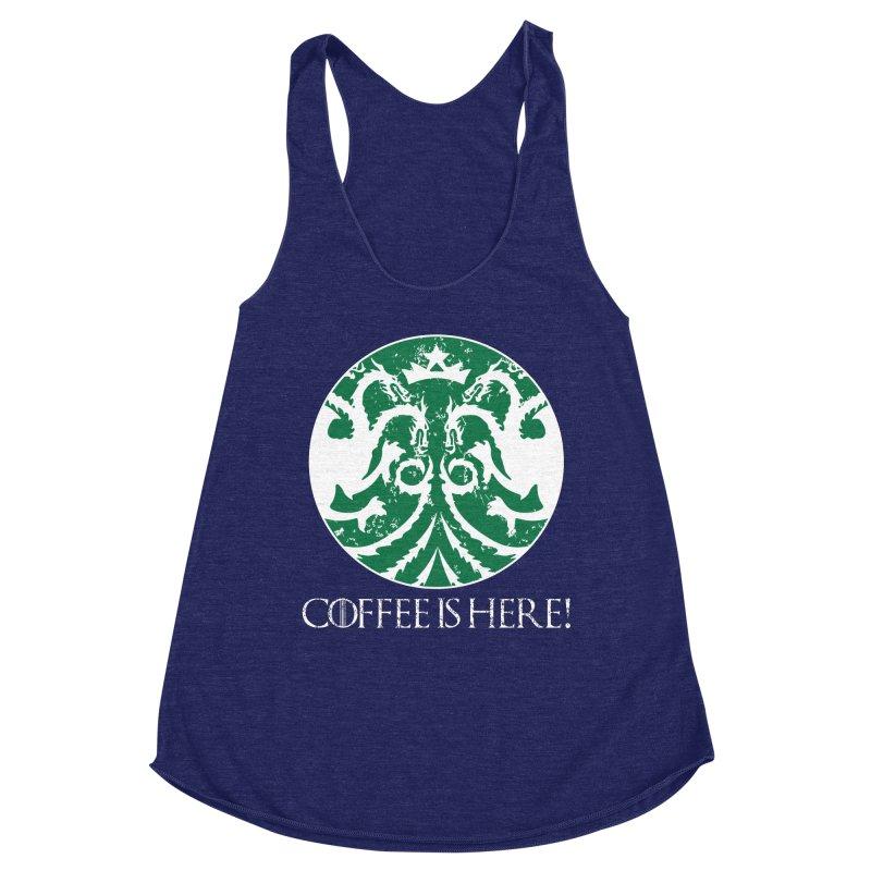 COFFEE IS HERE!!! Women's Racerback Triblend Tank by karmadesigner's Tee Shirt Shop