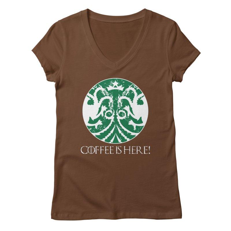 COFFEE IS HERE!!! Women's Regular V-Neck by karmadesigner's Tee Shirt Shop