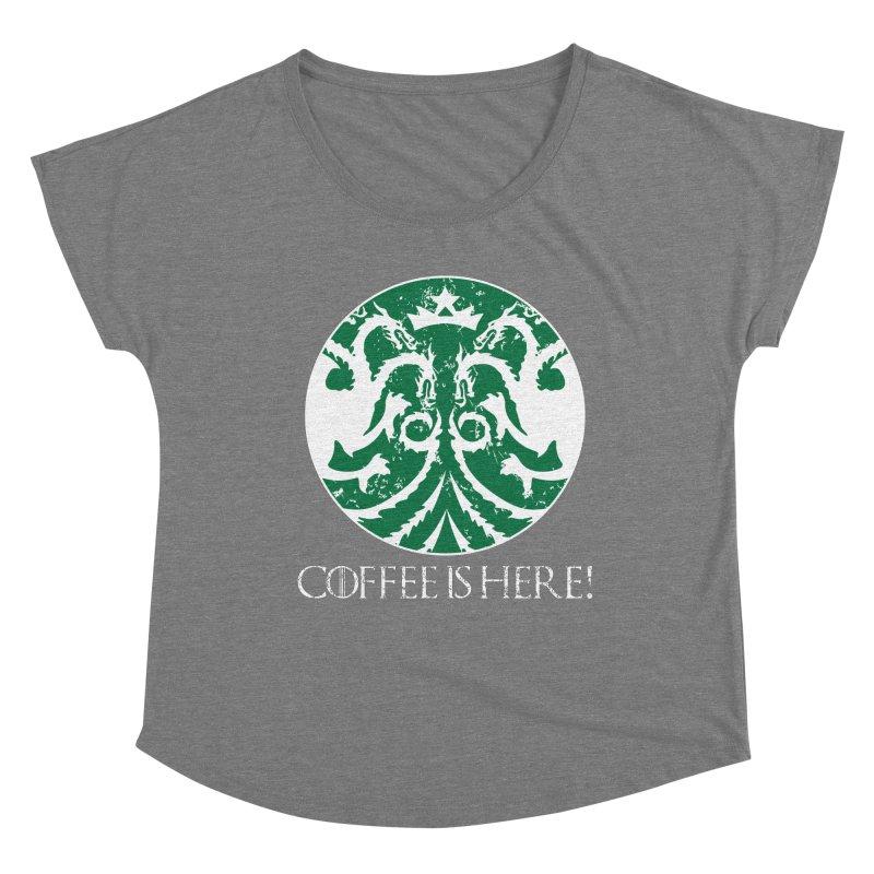 COFFEE IS HERE!!! Women's Scoop Neck by karmadesigner's Tee Shirt Shop