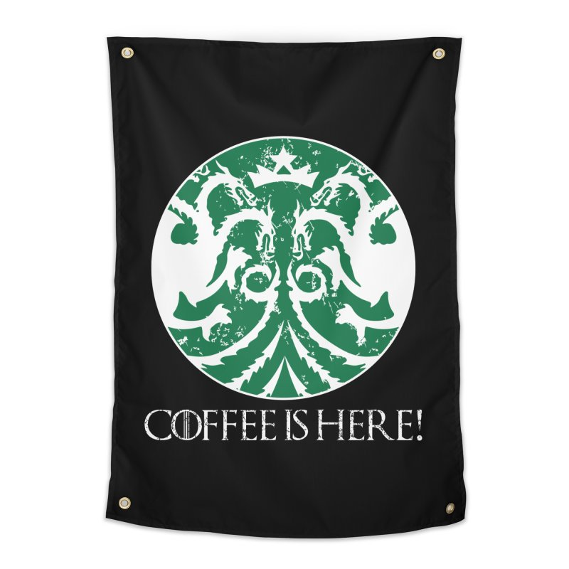 COFFEE IS HERE!!! Home Tapestry by karmadesigner's Tee Shirt Shop