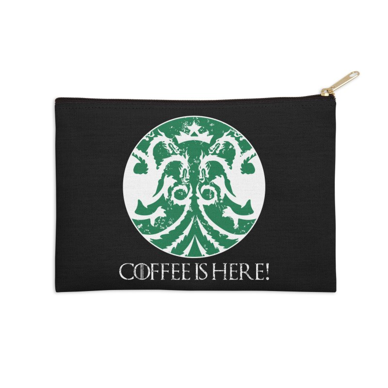 COFFEE IS HERE!!! Accessories Zip Pouch by karmadesigner's Tee Shirt Shop