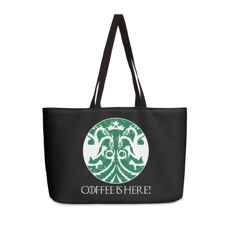 COFFEE IS HERE!!! Accessories Bag by karmadesigner's Tee Shirt Shop