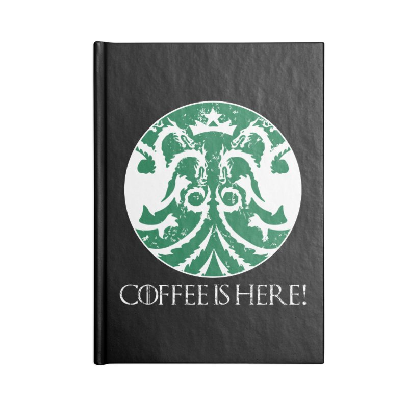 COFFEE IS HERE!!! Accessories Lined Journal Notebook by karmadesigner's Tee Shirt Shop
