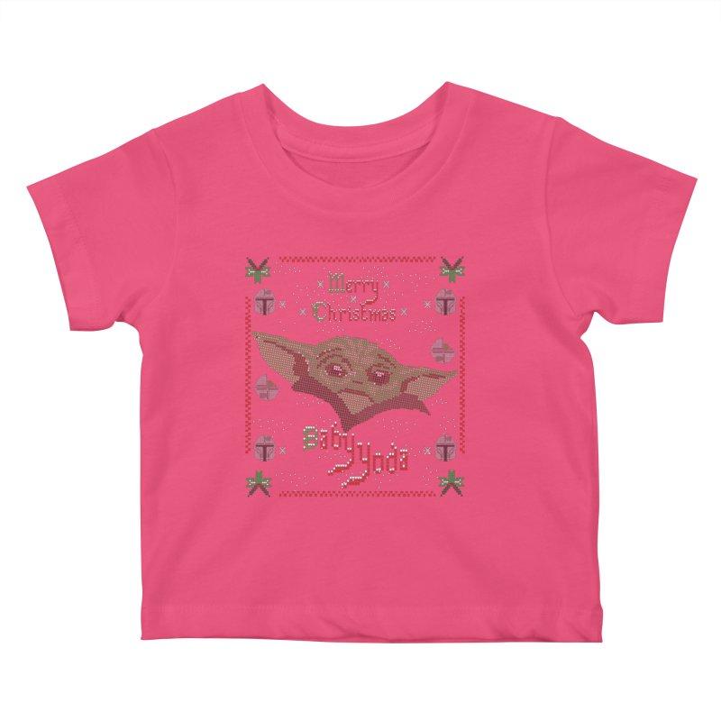 MERRY MANDALORIAN CHRISTMAS BABY YODA Kids Baby T-Shirt by karmadesigner's Tee Shirt Shop