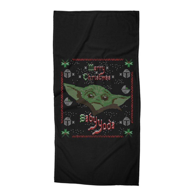 MERRY MANDALORIAN CHRISTMAS BABY YODA Accessories Beach Towel by karmadesigner's Tee Shirt Shop
