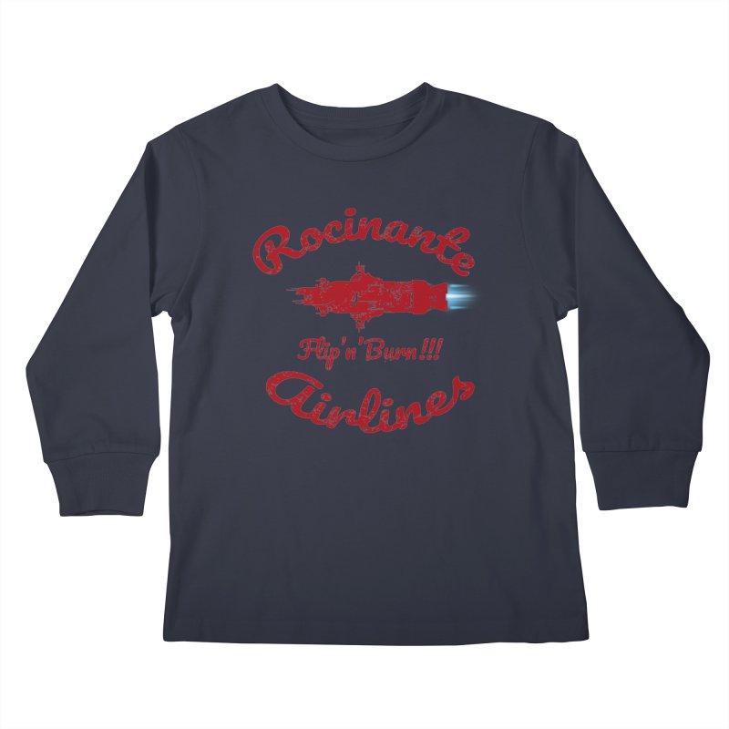 ROCINANTE AIRLINES FLIP'N'BURN! Kids Longsleeve T-Shirt by karmadesigner's Tee Shirt Shop