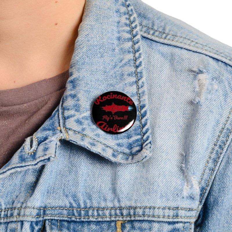 ROCINANTE AIRLINES FLIP'N'BURN! Accessories Button by karmadesigner's Tee Shirt Shop