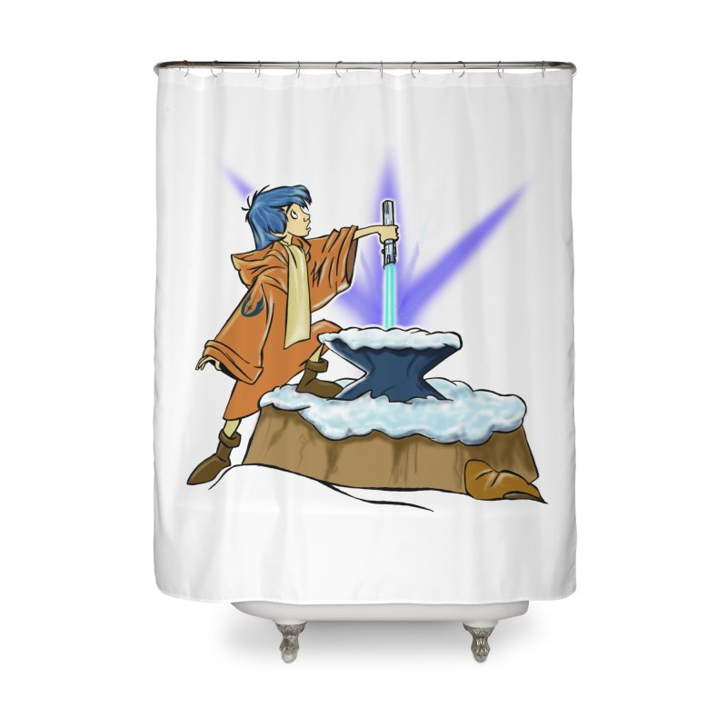 THE LIGHTSABER IN THE STONE  Home Shower Curtain by karmadesigner's Tee Shirt Shop