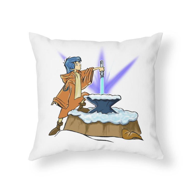 THE LIGHTSABER IN THE STONE  Home Throw Pillow by karmadesigner's Tee Shirt Shop