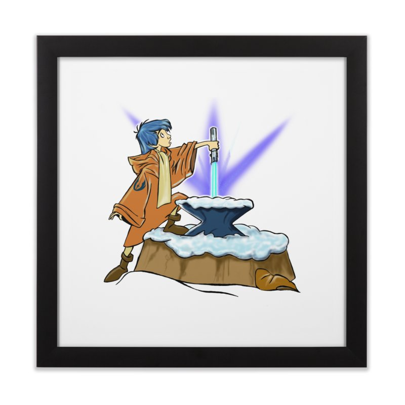 THE LIGHTSABER IN THE STONE  Home Framed Fine Art Print by karmadesigner's Tee Shirt Shop