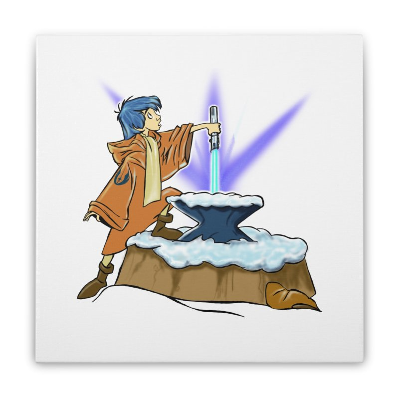 THE LIGHTSABER IN THE STONE  Home Stretched Canvas by karmadesigner's Tee Shirt Shop