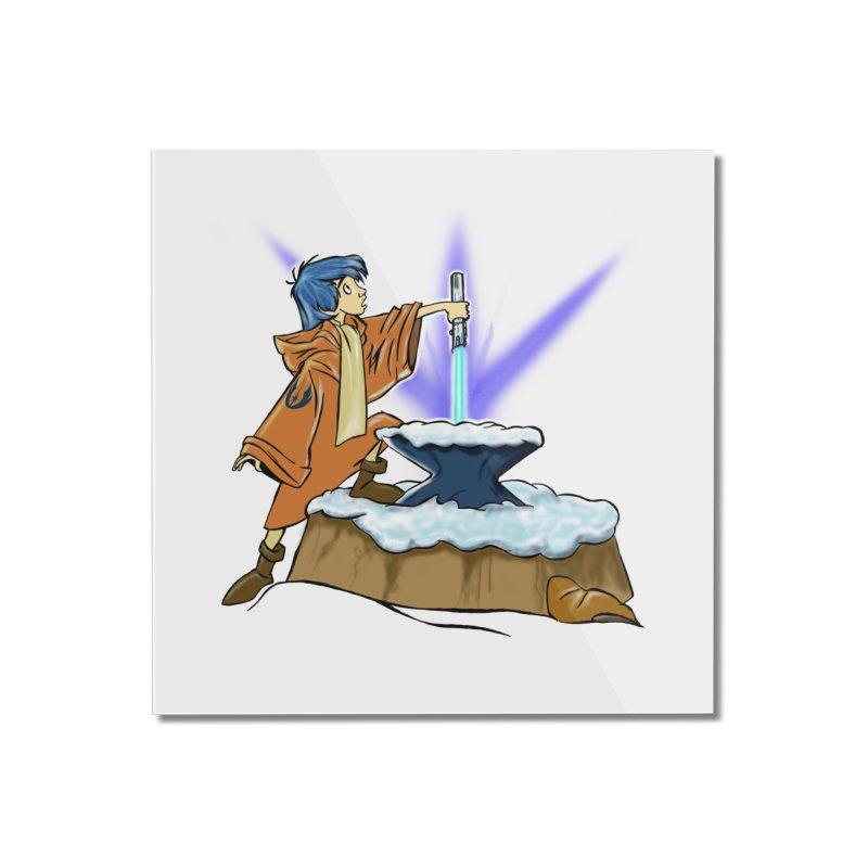THE LIGHTSABER IN THE STONE  Home Mounted Acrylic Print by karmadesigner's Tee Shirt Shop