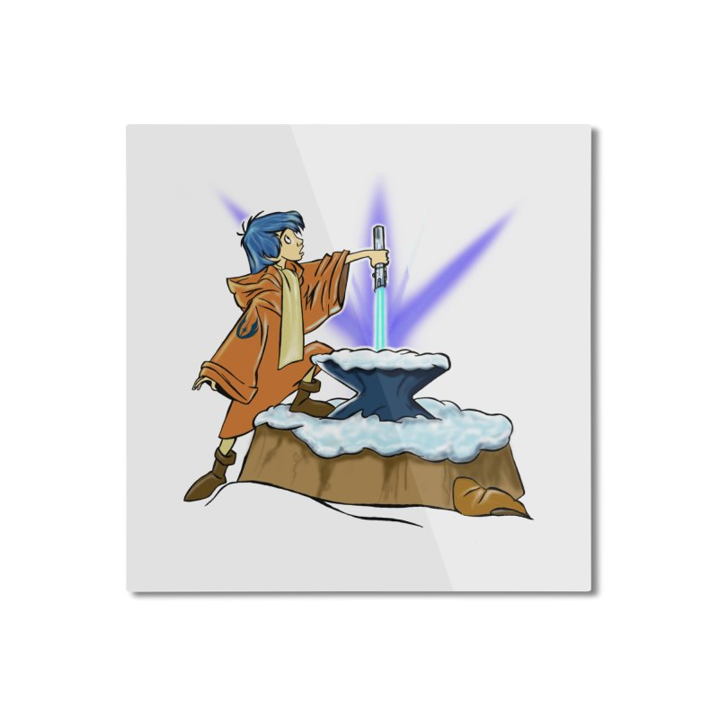 THE LIGHTSABER IN THE STONE  Home Mounted Aluminum Print by karmadesigner's Tee Shirt Shop