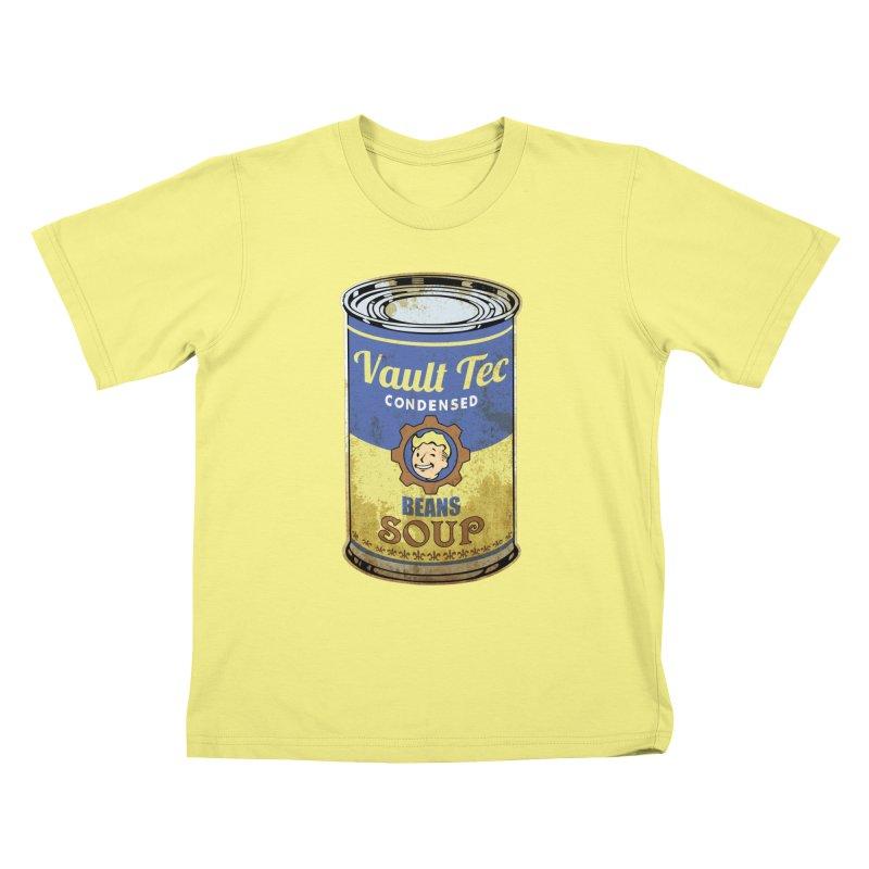VAULT TEC BEANS SOUP  Kids T-shirt by karmadesigner's Tee Shirt Shop