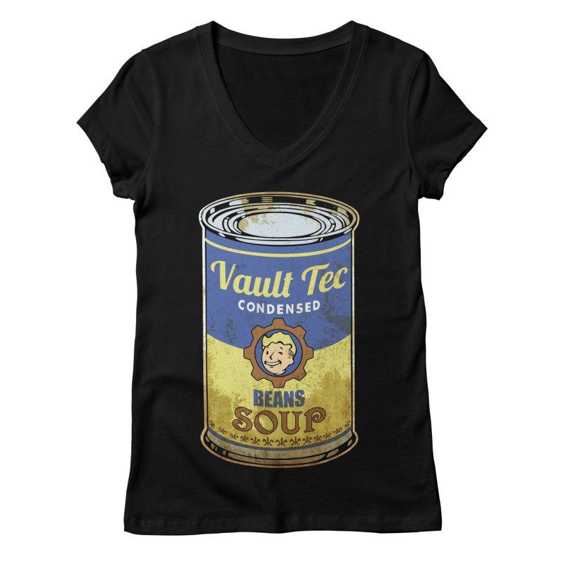 VAULT TEC BEANS SOUP  Women's V-Neck by karmadesigner's Tee Shirt Shop