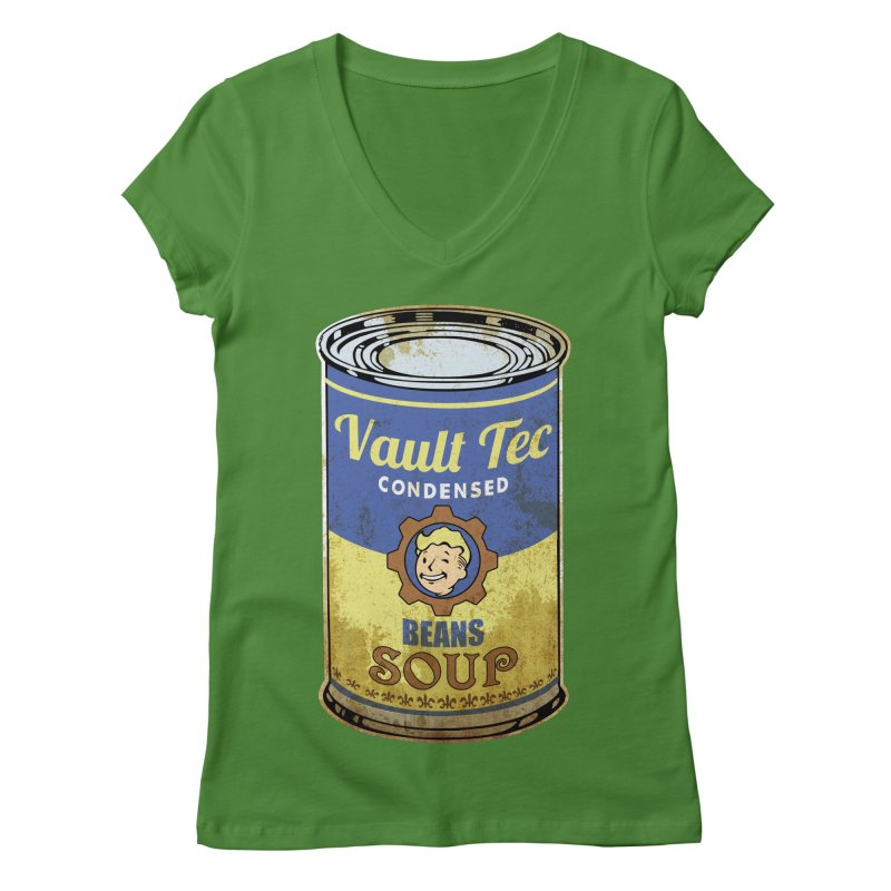 VAULT TEC BEANS SOUP  Women's V-Neck by karmadesigner's Tee Shirt Shop