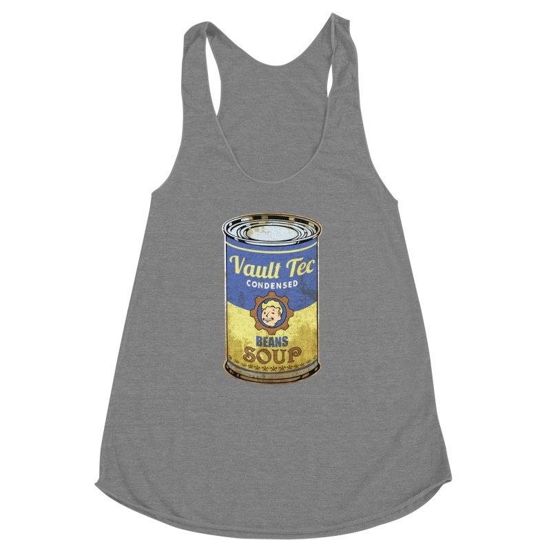 VAULT TEC BEANS SOUP  Women's Racerback Triblend Tank by karmadesigner's Tee Shirt Shop