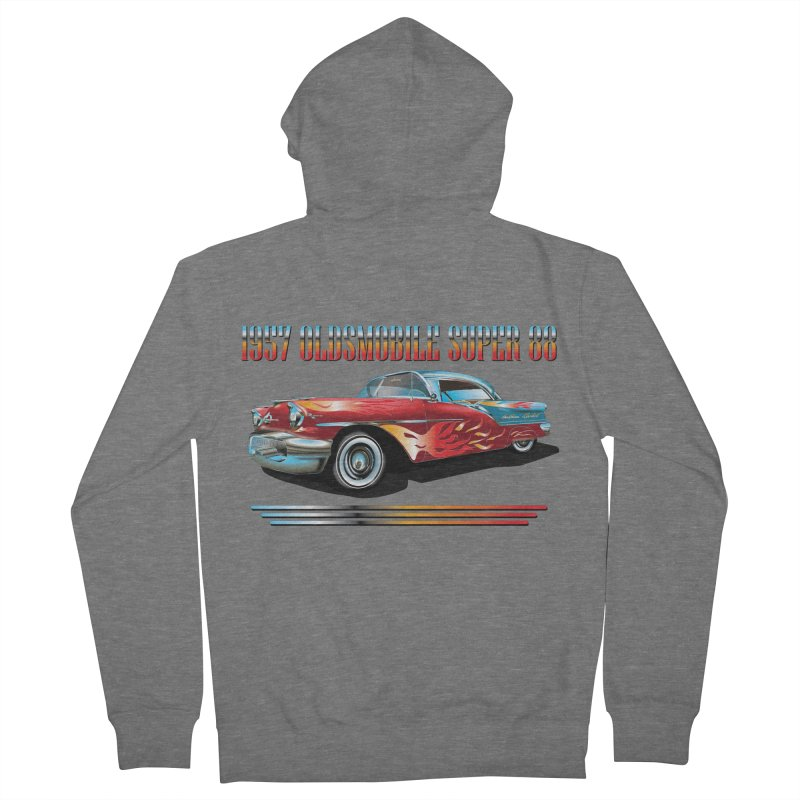 1957OLDSMOBILE SUPER 88 Women's French Terry Zip-Up Hoody by karmadesigner's Tee Shirt Shop