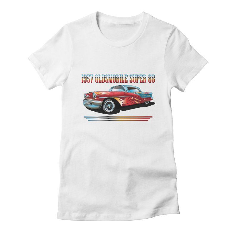 1957OLDSMOBILE SUPER 88 Women's Fitted T-Shirt by karmadesigner's Tee Shirt Shop