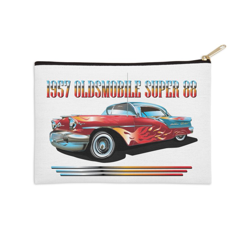 1957OLDSMOBILE SUPER 88 Accessories Zip Pouch by karmadesigner's Tee Shirt Shop