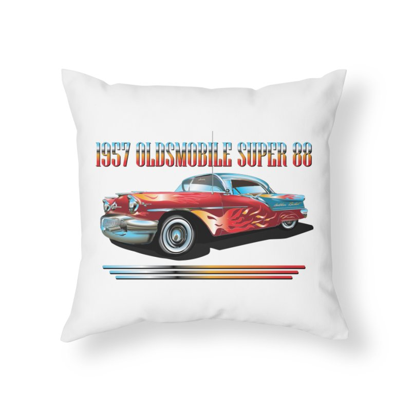 1957OLDSMOBILE SUPER 88 Home Throw Pillow by karmadesigner's Tee Shirt Shop
