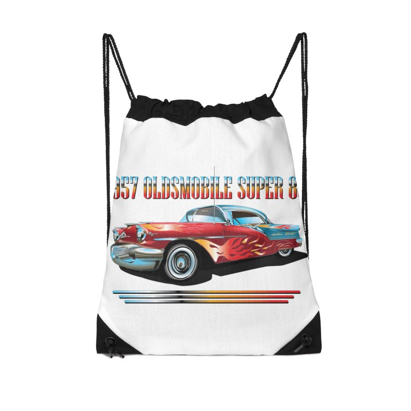 1957OLDSMOBILE SUPER 88 Accessories Drawstring Bag Bag by karmadesigner's Tee Shirt Shop