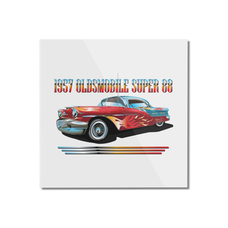 1957OLDSMOBILE SUPER 88 Home Mounted Acrylic Print by karmadesigner's Tee Shirt Shop