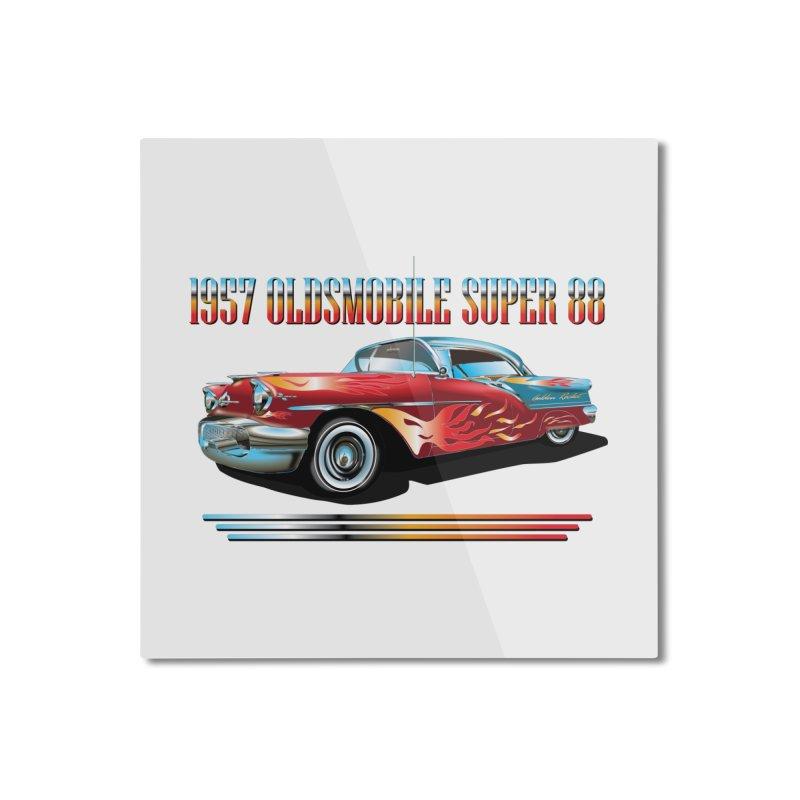 1957OLDSMOBILE SUPER 88 Home Mounted Aluminum Print by karmadesigner's Tee Shirt Shop