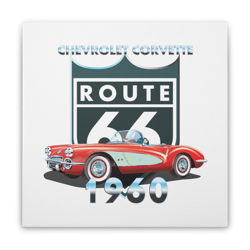 CHEVROLET CORVETTE 1960 Home Stretched Canvas by karmadesigner's Tee Shirt Shop