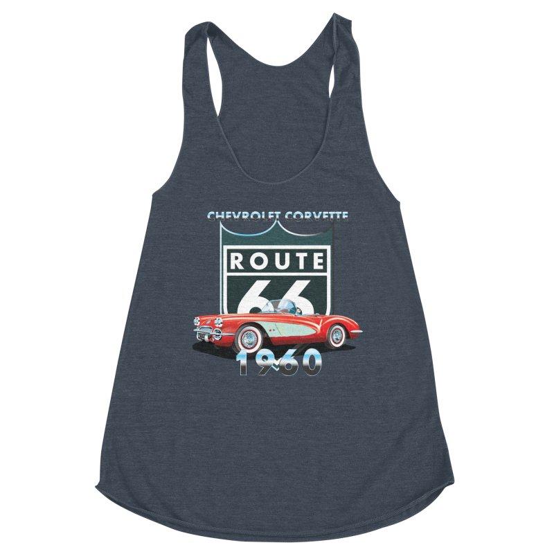CHEVROLET CORVETTE 1960 Women's Racerback Triblend Tank by karmadesigner's Tee Shirt Shop