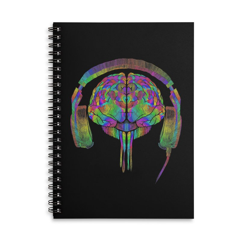 SKULL BRAIN Accessories Lined Spiral Notebook by karmadesigner's Tee Shirt Shop