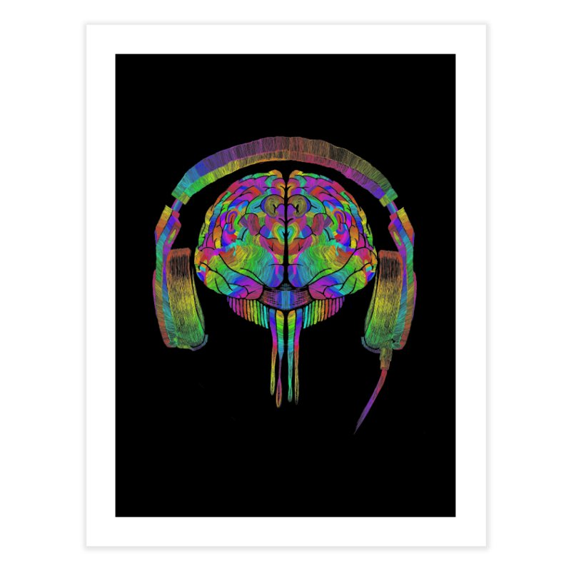 SKULL BRAIN Home Fine Art Print by karmadesigner's Tee Shirt Shop