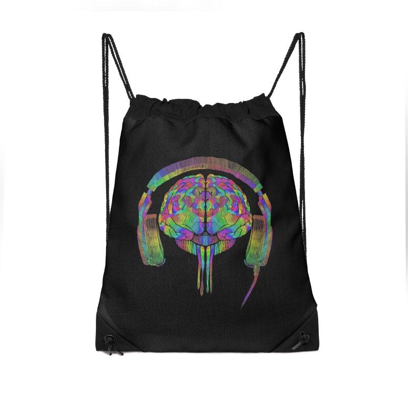 SKULL BRAIN Accessories Drawstring Bag Bag by karmadesigner's Tee Shirt Shop
