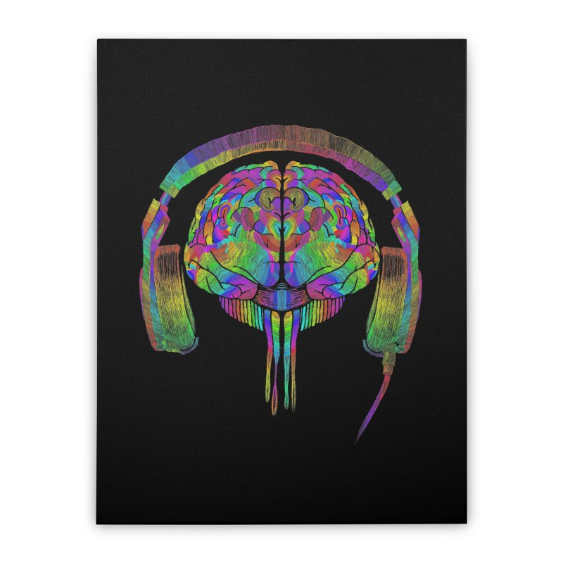SKULL BRAIN Home Stretched Canvas by karmadesigner's Tee Shirt Shop