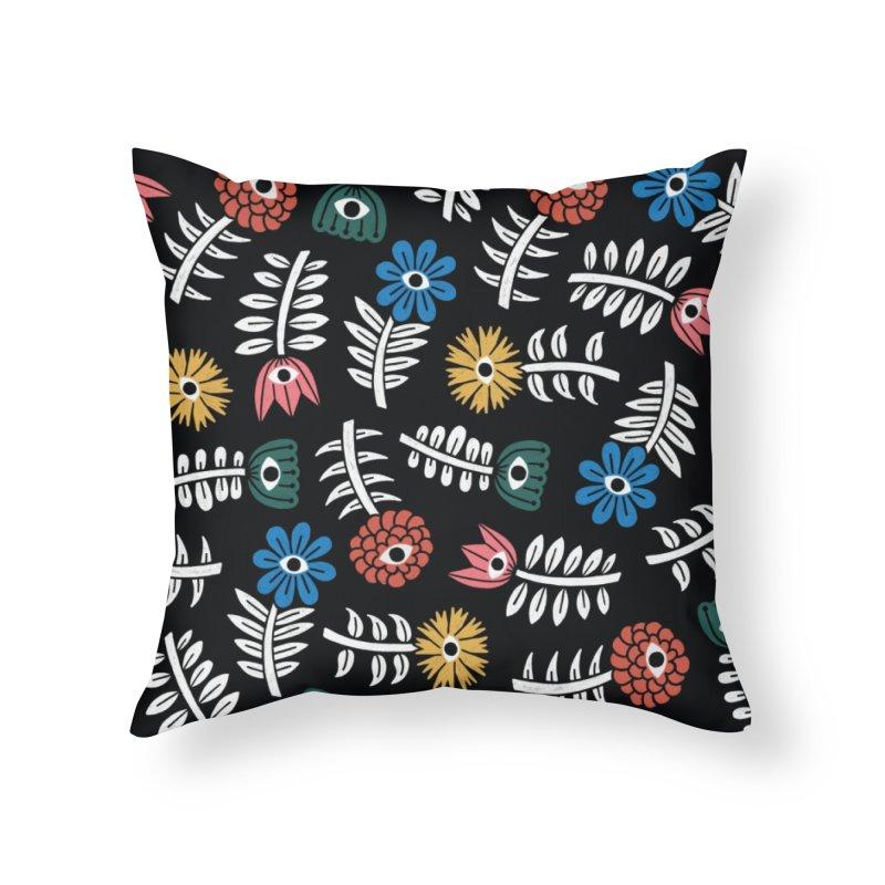 Rainbow Garden Home Throw Pillow by Katdog