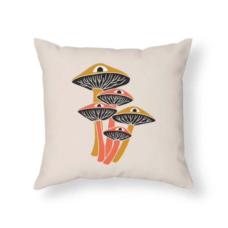 Mushroom Cluster Home Throw Pillow by Katdog
