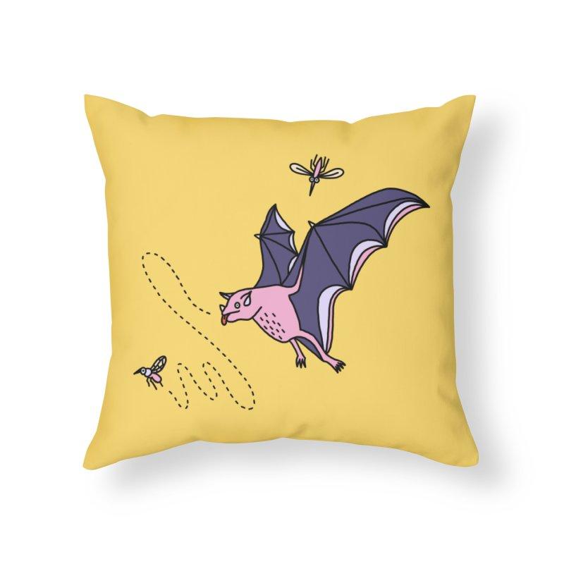 Hungry Bat Home Throw Pillow by Katdog