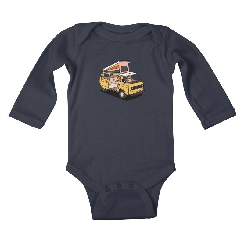 Smiley VW Westfalia Vanagon Kids Baby Longsleeve Bodysuit by Katdog
