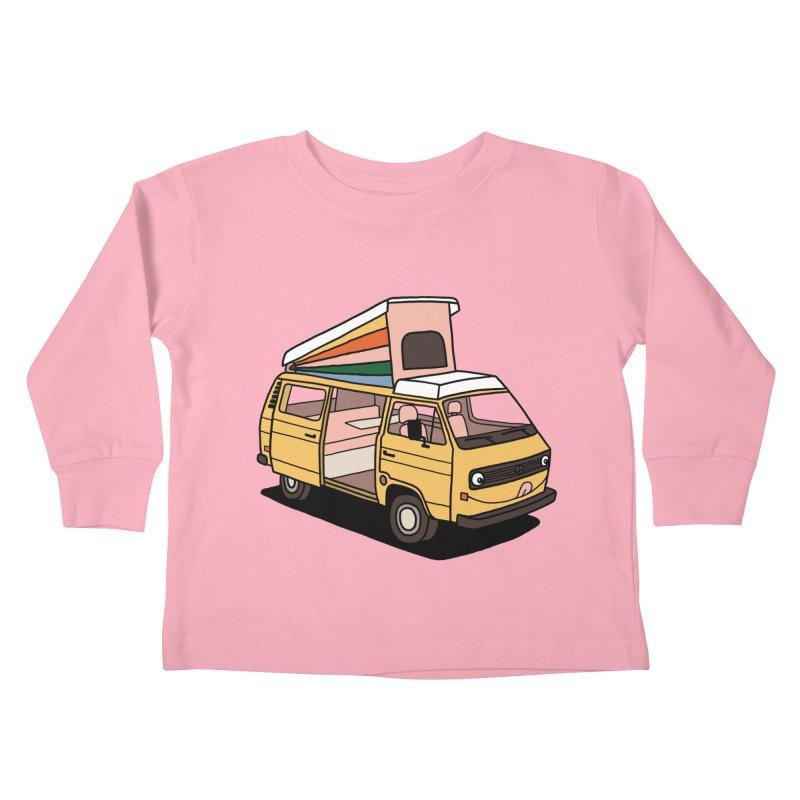 Smiley VW Westfalia Vanagon Kids Toddler Longsleeve T-Shirt by Katdog