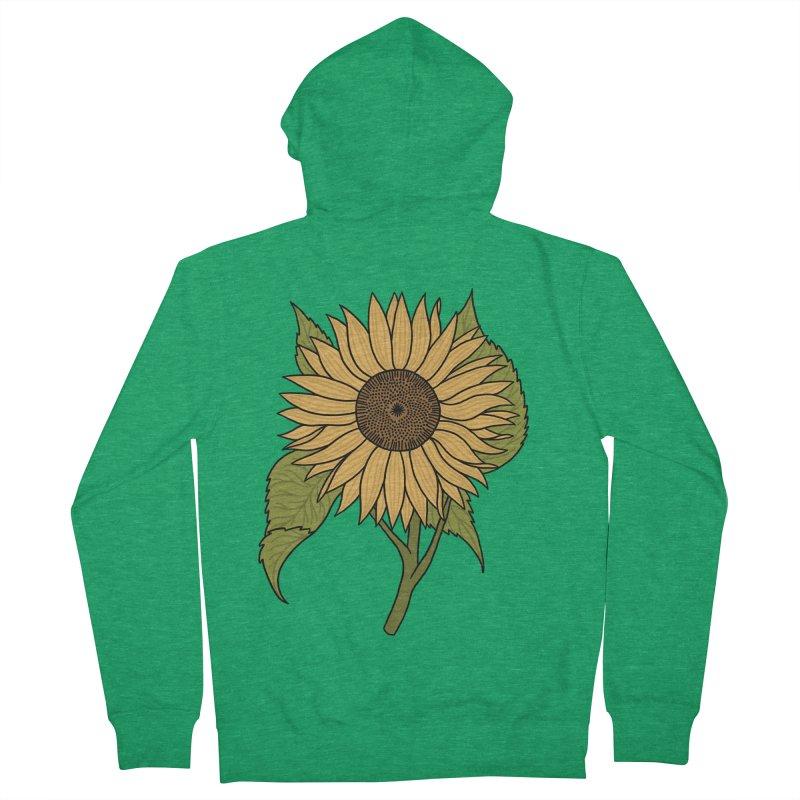 Bright Sunflower Men's Zip-Up Hoody by Katdog