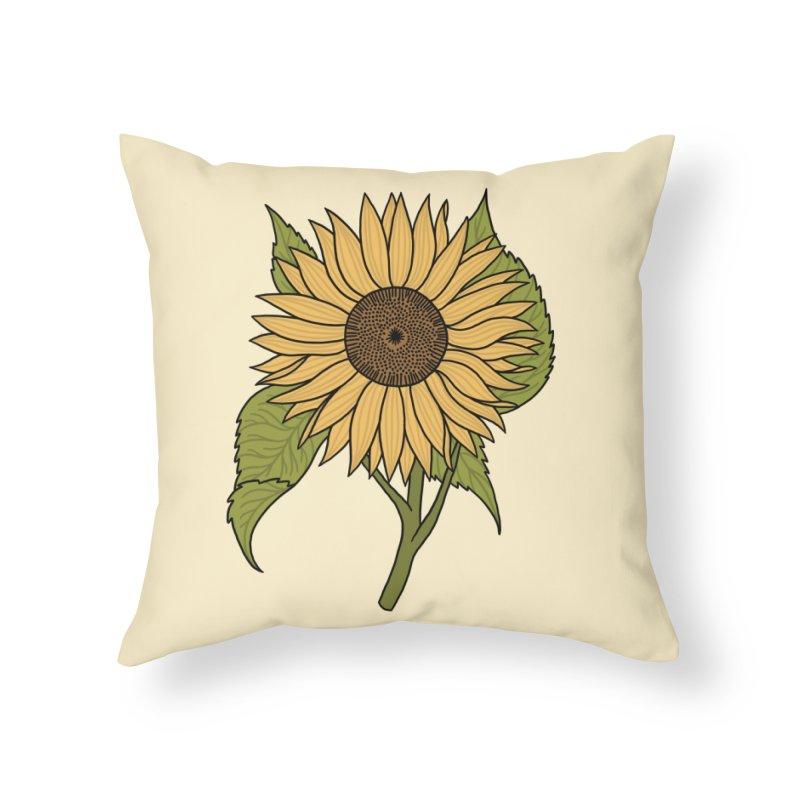 Bright Sunflower Home Throw Pillow by Katdog